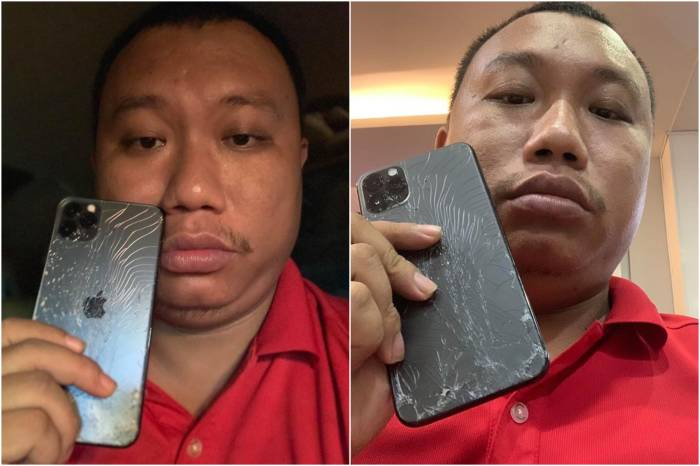 Ekspresinya berubah setelah iPhone terjatuh