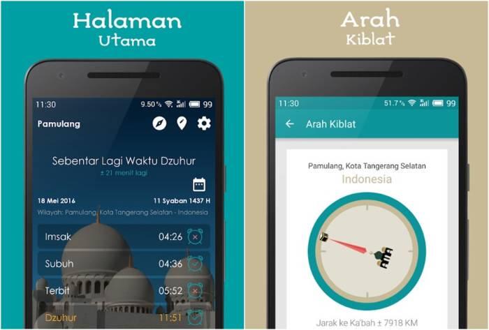 Aplikasi arah kiblat Jadwal Sholat, Kiblat dan Adzan