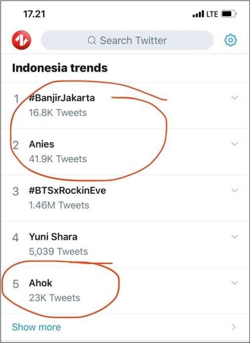 #Anies #Ahok di antara tagar #BanjirJakarta di trending Twitter