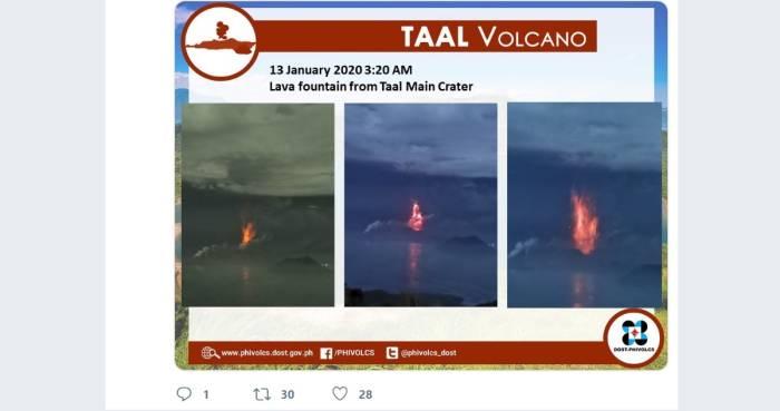 Gunung Taal di Filipina yang erupsi (Twitter/@phivolcs_dots)