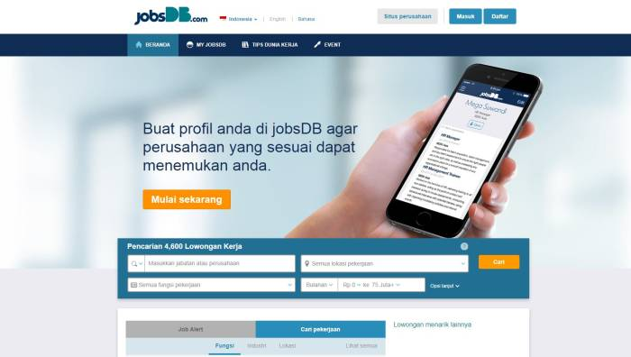 Situs lowongan kerja populer JobsDB.com