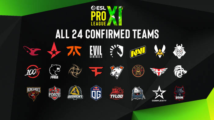 24 tim yang bertanding di ESL Pro League Season XI