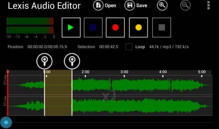 Aplikasi edit suara Lexis Audio Editor