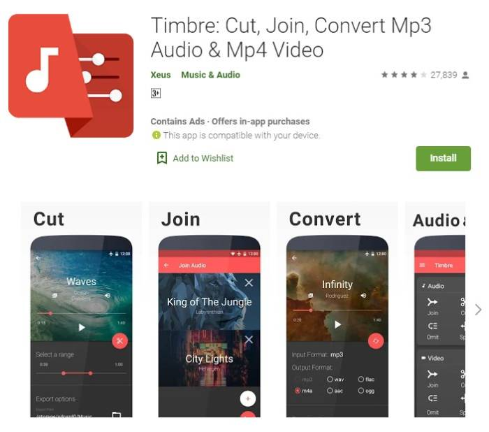 Aplikasi editing audio di smartphone Timbre