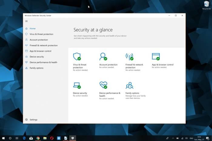 Tools Windows Defender di sistem operasi Windows 10