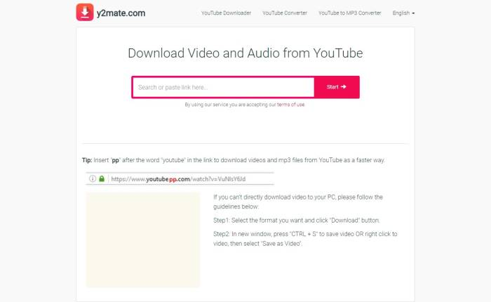 Cara download video YouTube Y2mate