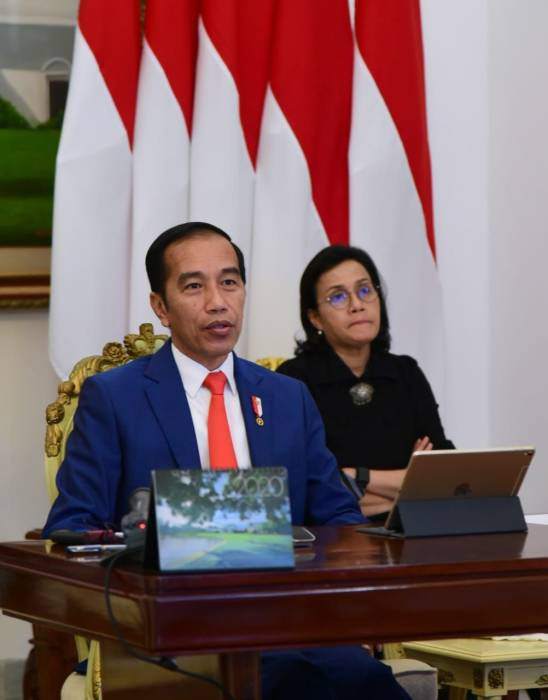 Presiden Jokowi, KTT LB G20, Konferensi Tingkat Tinggi, G20, virtual, daring, online, virus corona, Covid-19, COVID-19, PBB, WHO, Bank Dunia, IMF