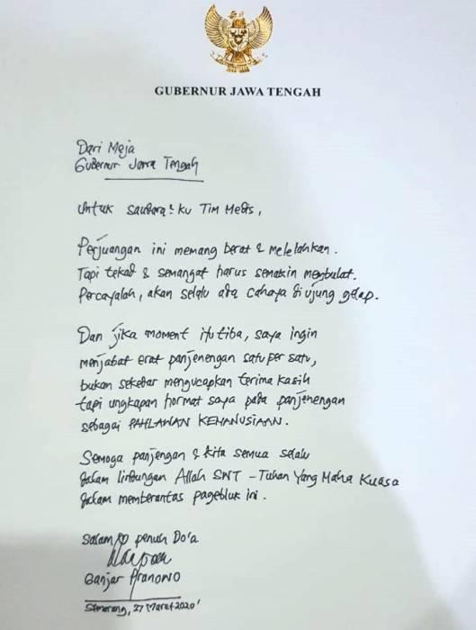 Surat Dari Gubernur Jawa Tengah, Ganjar Pranowo kepada Tim Medis (DOK. INDOZONE)