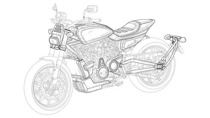 Gambar paten flat tracker milik Harley-Davidson