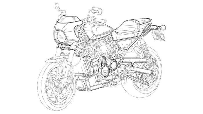 Gambar paten cafe racer milik Harley-Davidson. (autoblog.com)