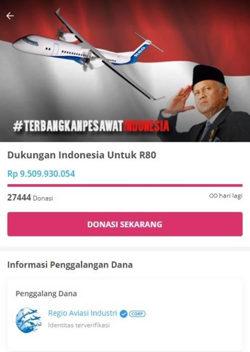 Aksi galang dana untuk proyek pesawat R80