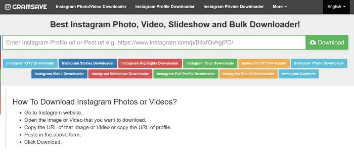 cara download foto di Instagram dengan situs web Gramsave