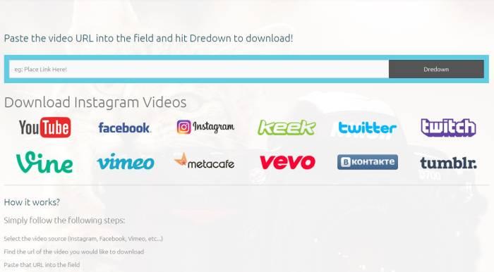 cara download video Instagram dengan situs web Dredown