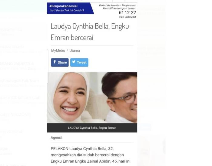 Perceraian Laudya Cynthia Bella dengan Engku Emran ikut menjadi sorotan media Malaysia.