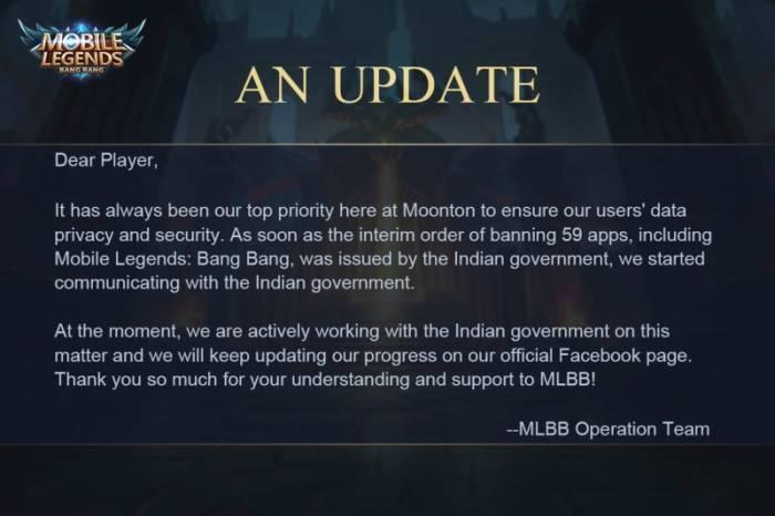 Pengumuman Moonton terkait diblokirnya Mobile Legends di India
