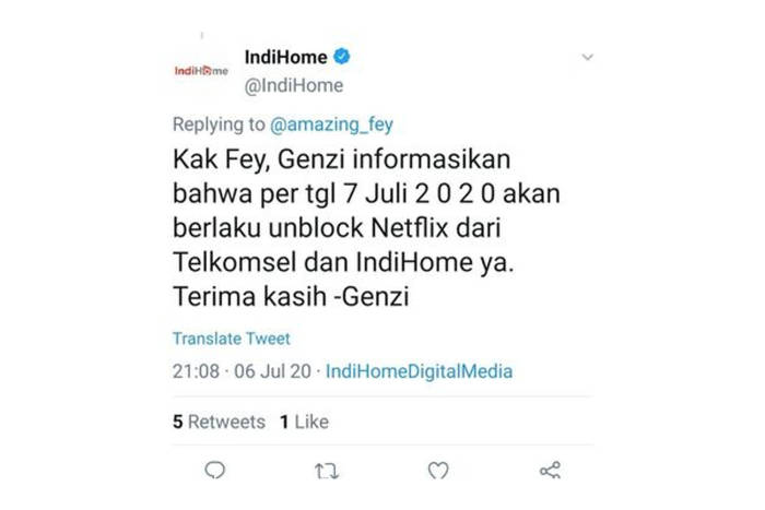 Balasan akun Twitter IndiHome yang kini sudah dihapus
