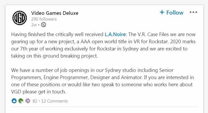 Postingan LinkedIn dari Video Game Deluxe
