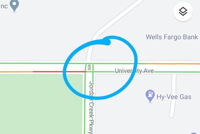 Fitur indikator lampu lalu lintas di Google Maps