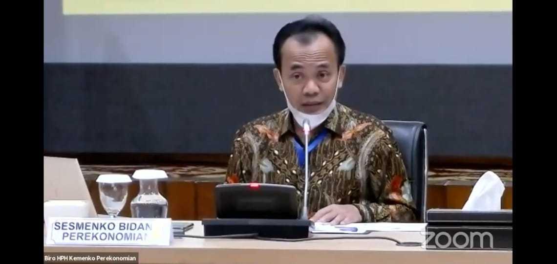 Caption: Sekretaris Kementerian Koordinator Bidang Perekonomian, Susiwijono dalam jumpa pers virtual di Jakarta, Senin (13/7/2020).