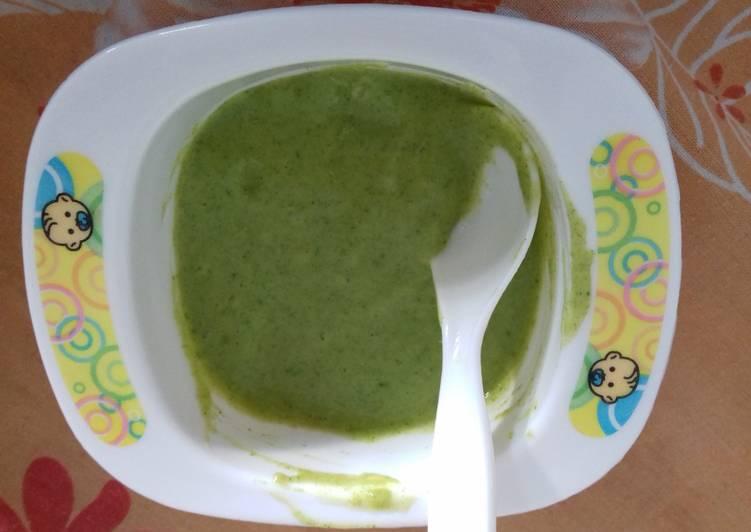 resep MPASI bayi 6 bulan puree jagung manis dan bayam