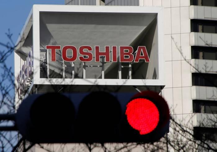 Logo Toshiba di kantor pusatnya di Tokyo, Jepang
