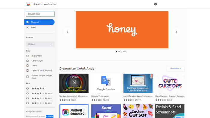 Tampilan situs Chrome Web Store untuk browser Google Chrome