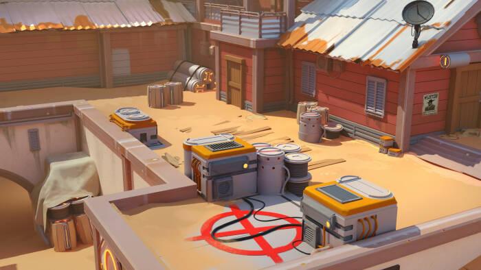 Map Dust 2 dari Counter-Strike dengan style Overwatch (photo/ArtStation/Michael Shinde)